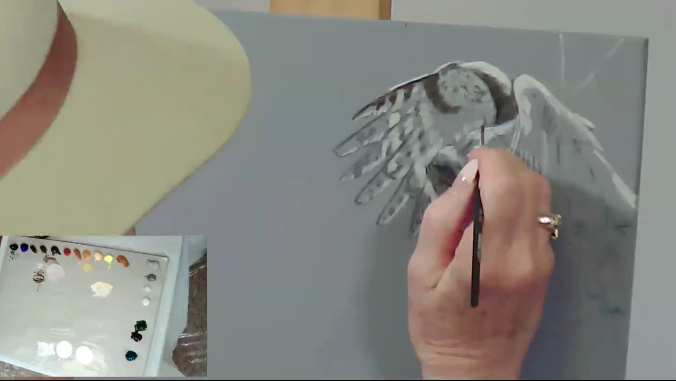 Suzie Seerey-Lester Painting action in acrylic in painting birds